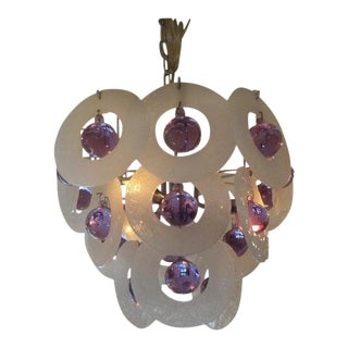 Vintage Venini Style Murano Glass Chandelier For Sale
