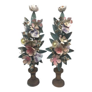 Vintage Toile Topiaries, a Pair For Sale