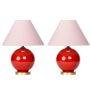 Casa Cosima Sphere Table Lamp, Persimmon/Pink Shade, a Pair For Sale