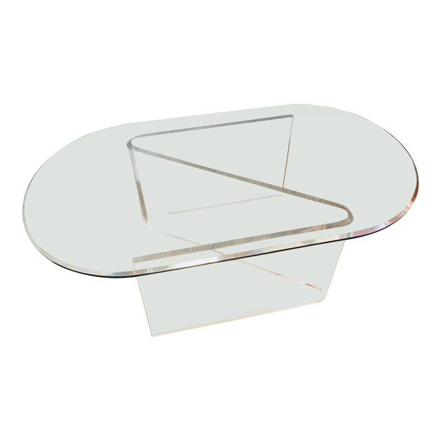 Lucite/Acrylic Base Coffee Table With Beveled Edge Glass Top For Sale