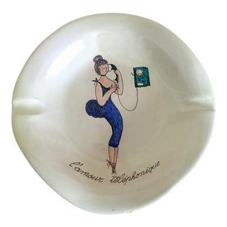 "Vintage Mid Century Modern Italy Art Pottery "" L 'Amour Telephonique "" Ceramic Ashtray For Sale"