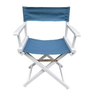 White Directors Chair With Check Fabric For Sale