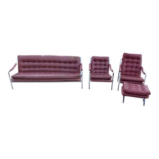 Milo Baughman Sofa His & Hers Ottoman Set - Set of 4 For Sale
