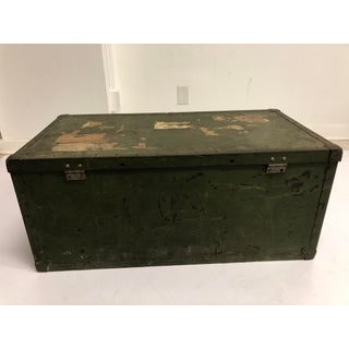 Vintage Industrial Green Military Foot Locker With Lid Preview