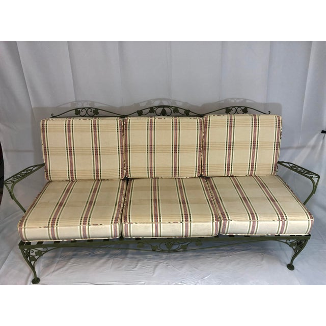 Vintage Woodard Style Wrought Iron Sofa For Sale - Image 12 of 12