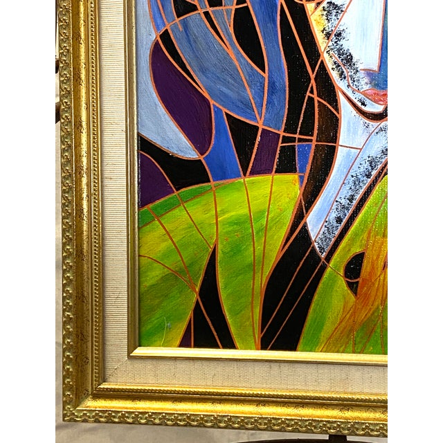 1990s Beautiful Vintage Oil on Canvas Signed Abstract Cubism Gold Frame For Sale - Image 5 of 8