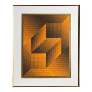 Victor Vasarely, Framed OP Art Serigraph For Sale