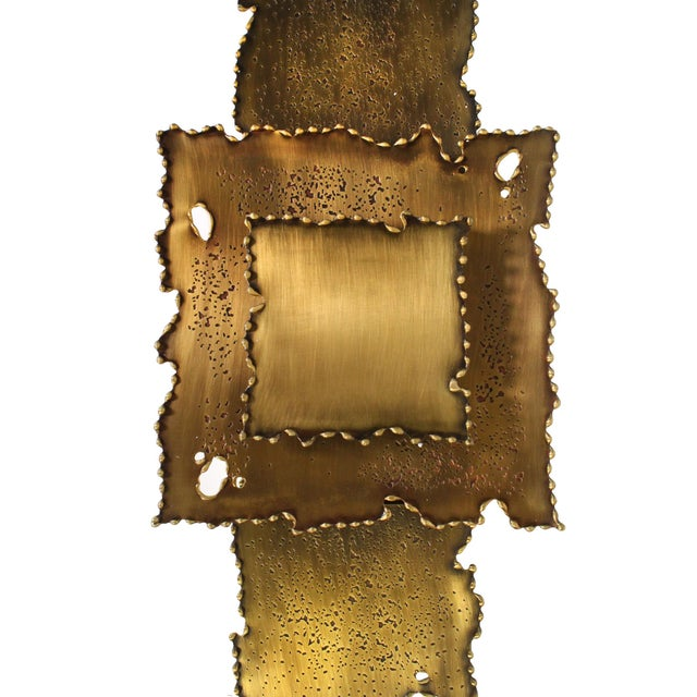 Metal Brass Brutalist Torch Cut Sconces - a Pair For Sale - Image 7 of 8