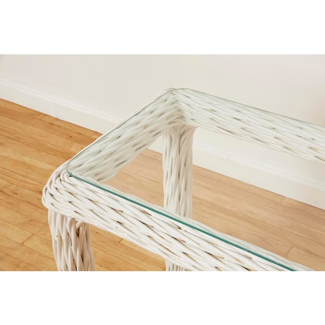 Vintage Thick White Wicker Console Table, 1980s For Sale - Image 10 of 13