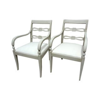 White Swedish Wood Back Chairs - A Pair For Sale