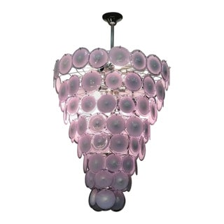 Monumental Murano Disc Chandelier by Vistosi For Sale