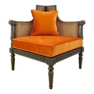 French Style Cane Back Orange Velvet Corner Chair For Sale