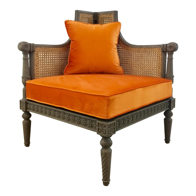 French Style Cane Back Orange Velvet Corner Chair For Sale
