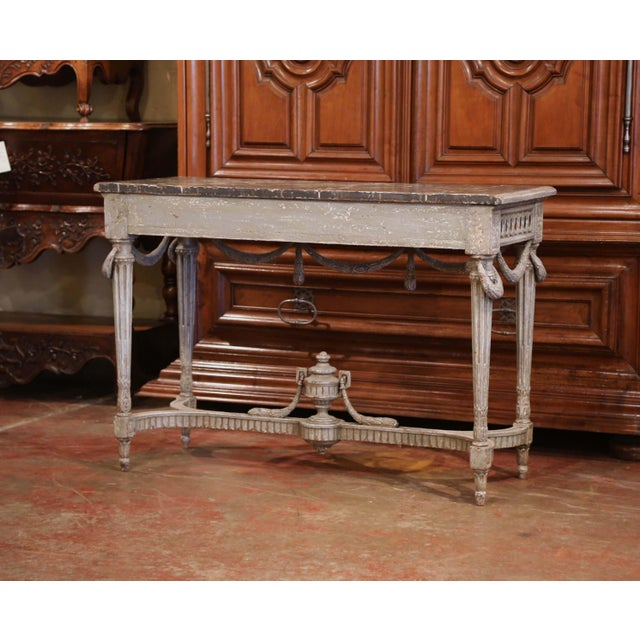 Pair of 19th Century French Carved Painted Consoles Tables With Faux Marble Top For Sale - Image 11 of 12
