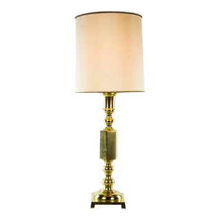 Vintage Oriental Brass Tiered Table Lamp For Sale