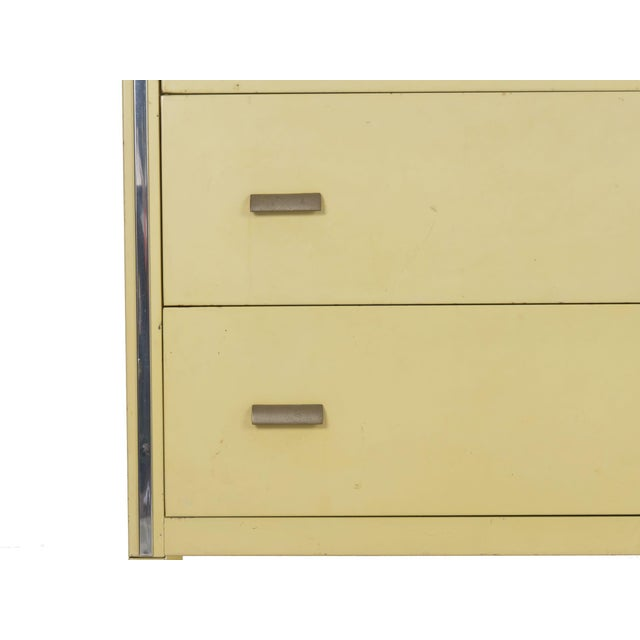 Yellow Circa 1930s Art Deco Yellow Enamel Chest of Drawers Dresser by Norman Bel Geddes For Sale - Image 8 of 13