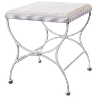 Iron and Stone Patio Garden Drinks Table For Sale