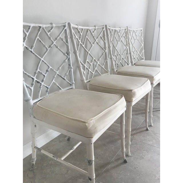 Phyllis Morris Vintage Phyllis Morris Style Metal Faux Bamboo Chairs - Set of 4 For Sale - Image 4 of 8