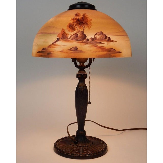 Antique Signed Pittsburgh Electric Reverse Painted Table Lamp - Image 11 of 11