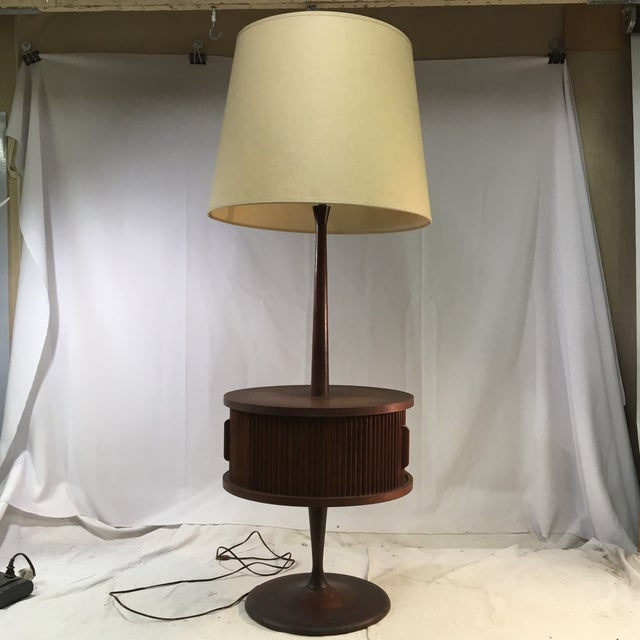 Vintage Mid-Century Leviton Wooden Floor Lamp With Tray Table and Sliding Compartment For Sale - Image 13 of 13