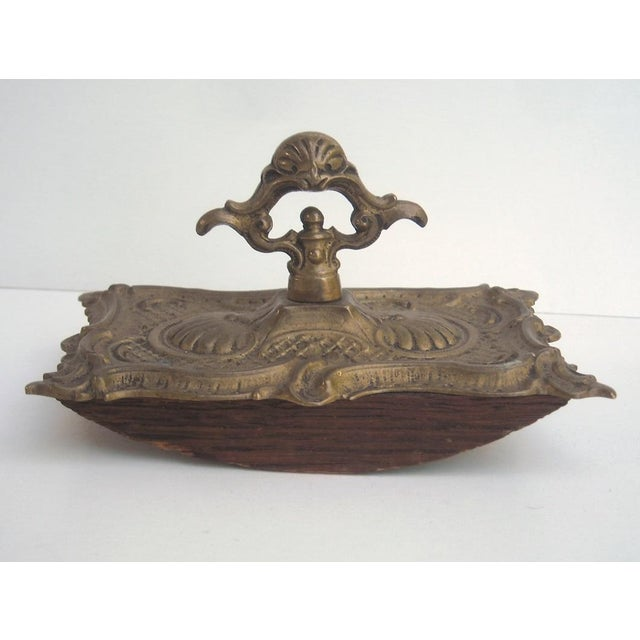 Antique French Ornate Brass Ink Blotter - Image 3 of 6
