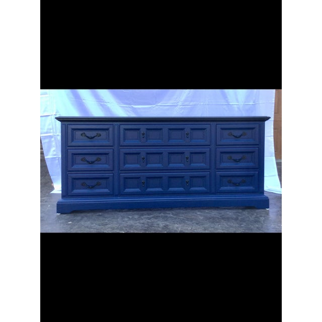 1970s Vintage Dixie Lacquered Blue and Black Dresser For Sale - Image 10 of 11
