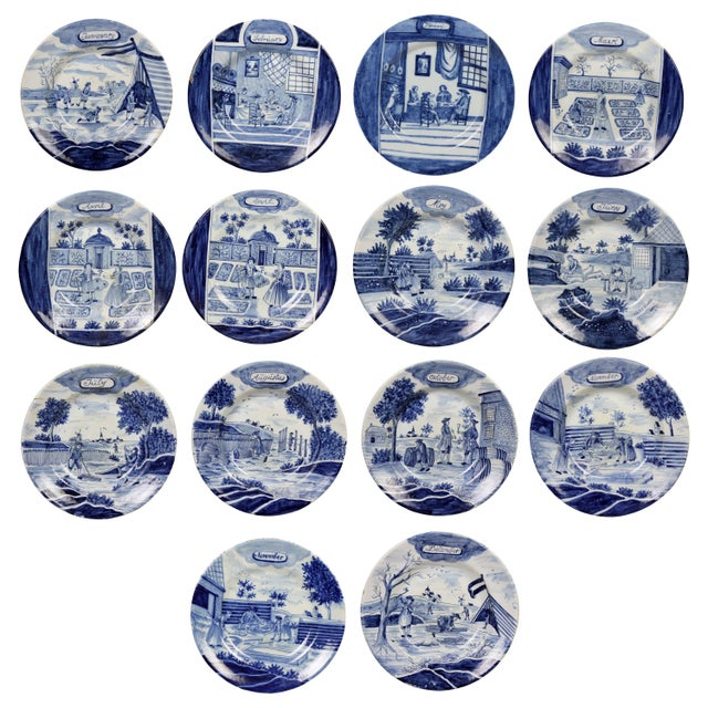 Collection of Delft Blue and White Month Plates - Set of 14 For Sale - Image 13 of 13