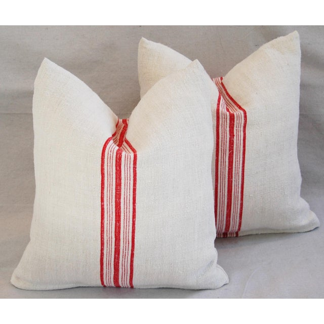 Red Stripe French Grain Sack Pillows - Pair - Image 7 of 11