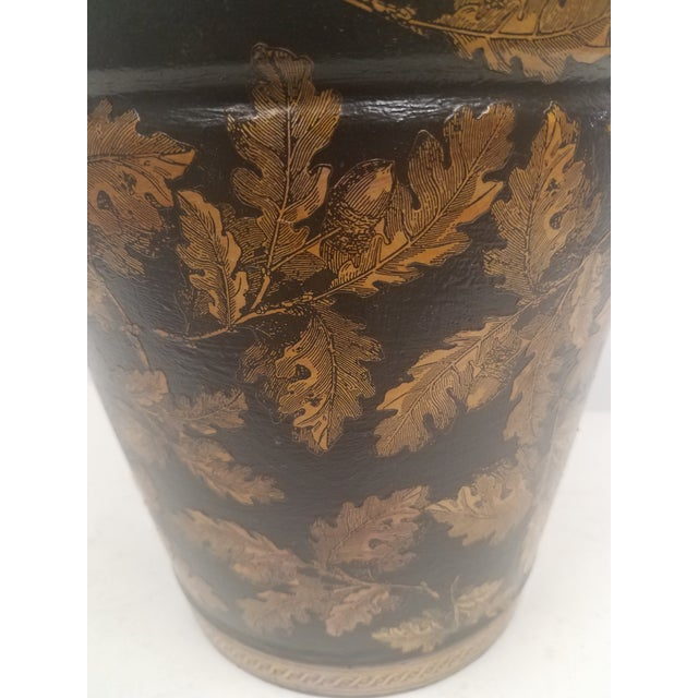 Metal English Antique Bucket / Pail With Decoupage Leaves - Found in Southern England For Sale - Image 7 of 12