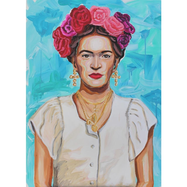 Frida in White Original Large Painting For Sale