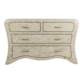 1970s Vintage Maitland-Smith Tessellated Marble Lowboy Dresser For Sale