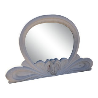 Postmodern Italian White Lacquered Light-Up Wall Mirror For Sale
