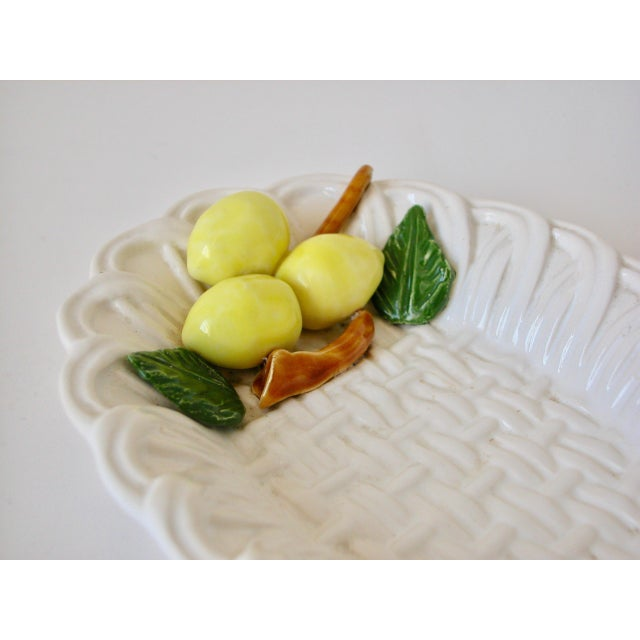 1970s Traditional Majolica Braided Lemon Ceramic Dish For Sale In Los Angeles - Image 6 of 10