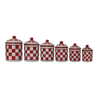 Antique Vintage French Lustucru Red & White Check Pattern Enamel Canister Set - 6 Piece