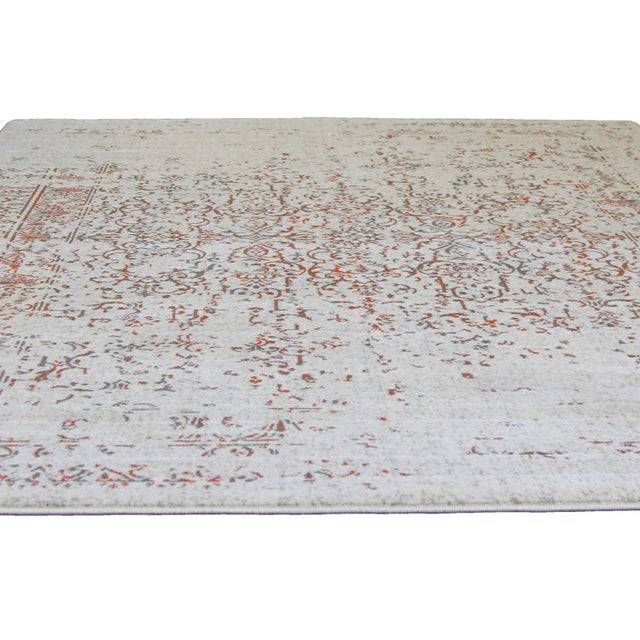 "Distressed Turkish Gray Orange Rug - 5'3"" x 7'7"" - Image 4 of 6"