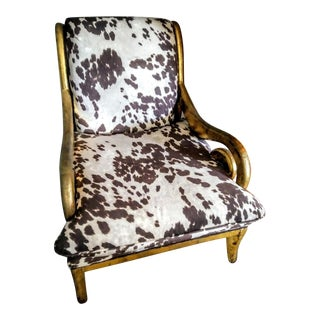 Vintage Large Custom Upholstered Faux Cow Hide Gold Carved Rounded Arm Side Chair For Sale