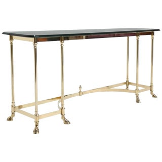 LaBarge Brass Console or Sofa Table With Glass Top