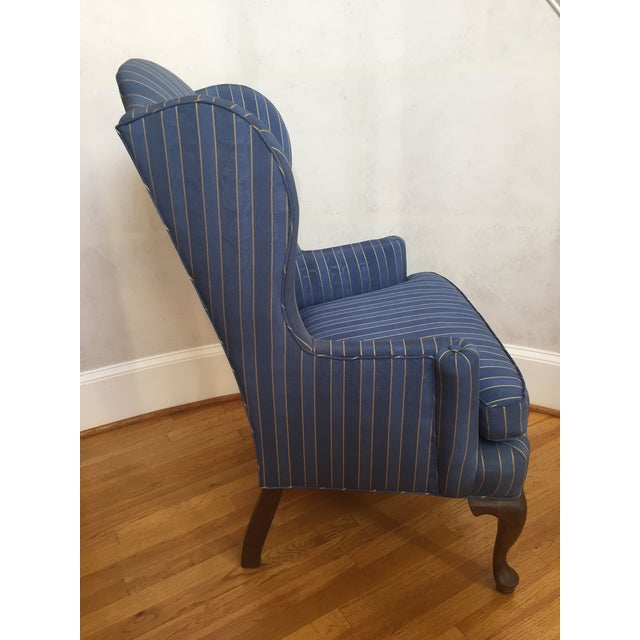 20th Century Queen Anne Blue With Gold Pin Stripe Damask Wingback Chair For Sale - Image 4 of 8