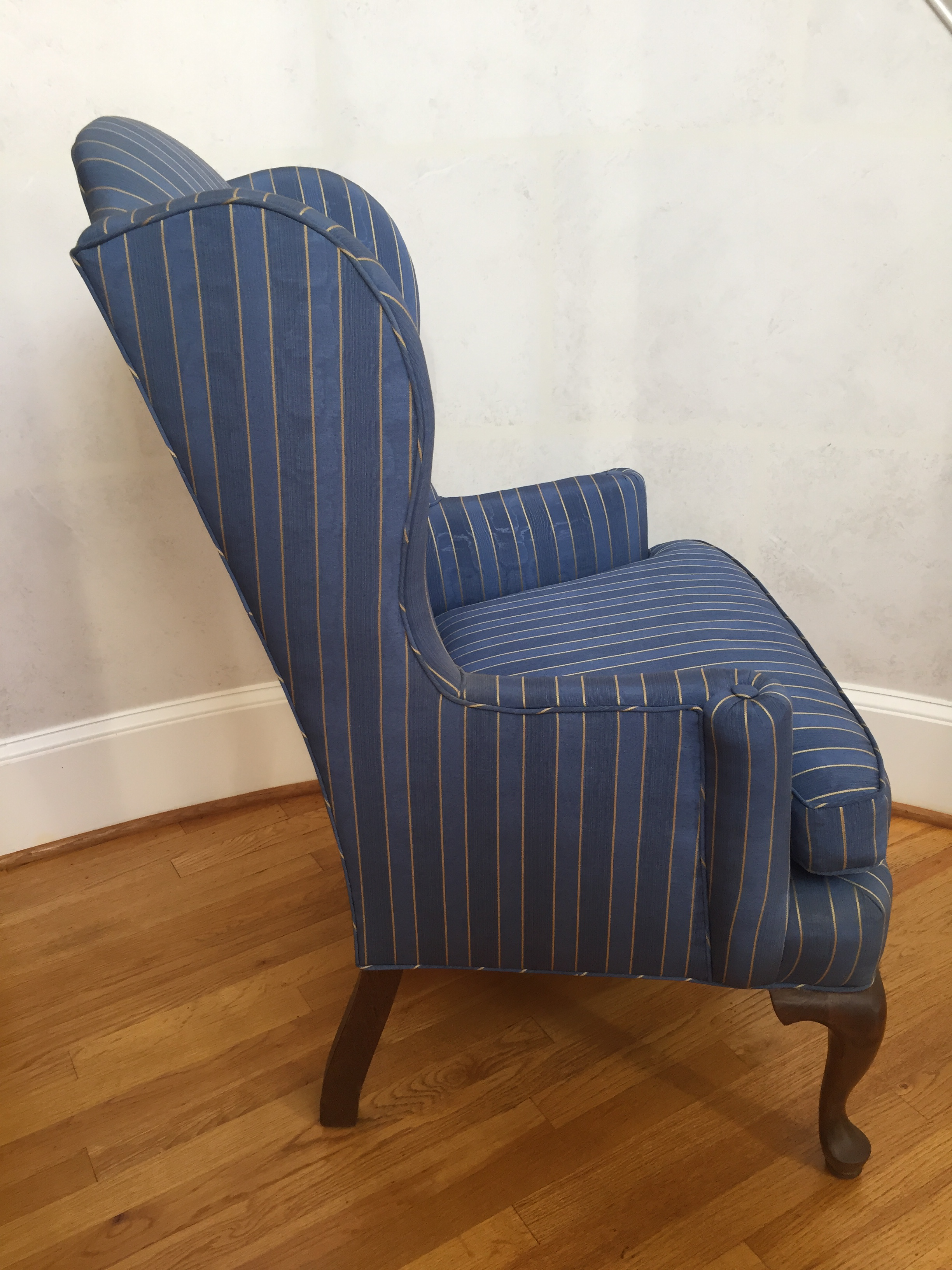 20th Century Queen Anne Blue With Gold Pin Stripe Damask Wingback Chair For  Sale   Image