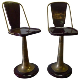 Mid 20th Century Swivel Yacht Style Bar Stools - a Pair For Sale