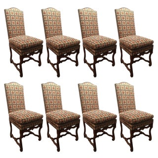 Set of Eight Italian Walnut and Upholstered Dining Chairs, 20th Century For Sale