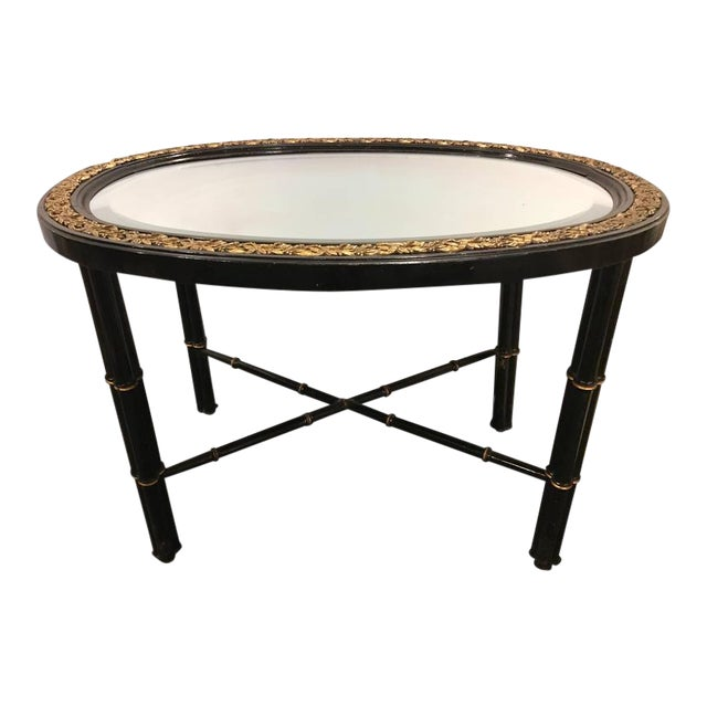Hollywood Regency Beveled Mirror Top Black Oval Coffee Table With Bronze Mounts For Sale - Image 9 of 9
