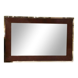 Universal Furniture Modern Crocodile Embossed Brown Leather Wall Mirror For Sale