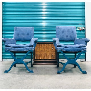 1950s Vintage Dorothy Draper Upholstered Campaign Chairs- A Pair Preview