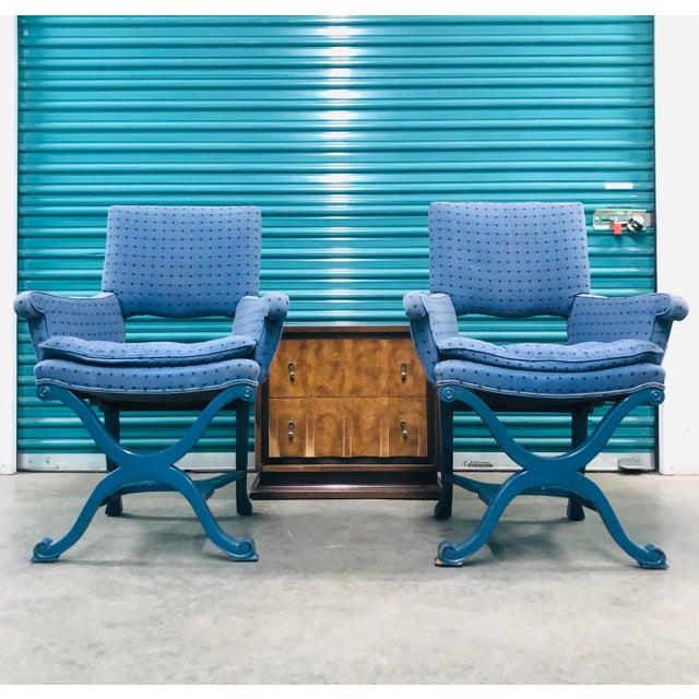 Hollywood Regency royalty! Pair of vintage chairs, blue finish with original upholstery consisting of blue cotton with...