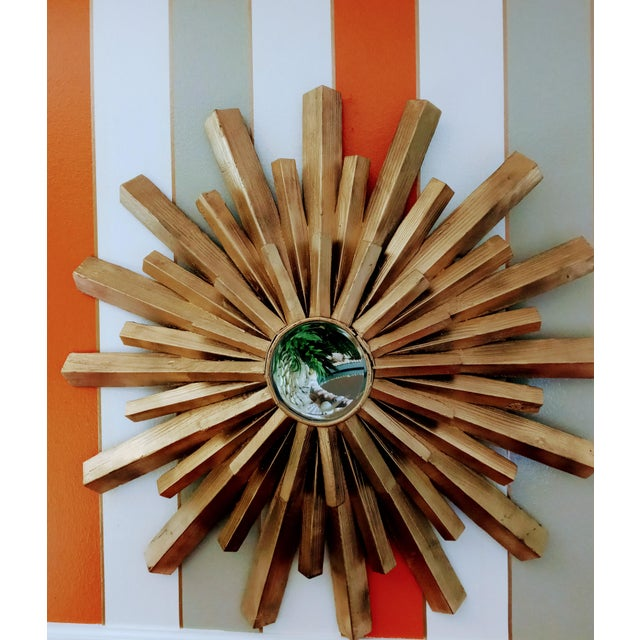 Jonathan Adler Large Solid Wood Carved Painted Gold Starburst Wall Mirror For Sale - Image 4 of 7