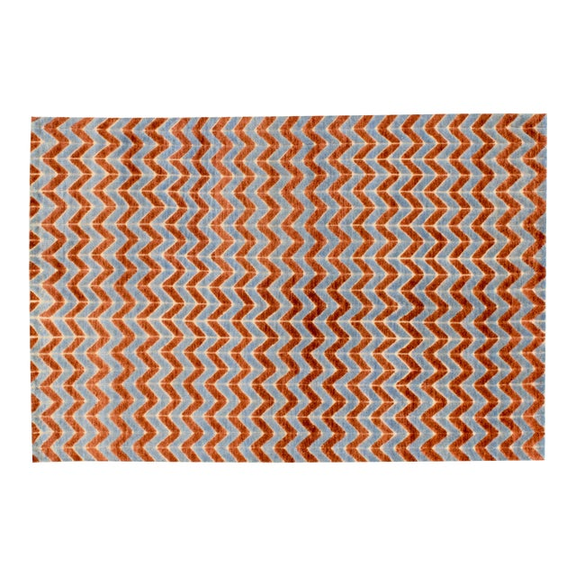 Solo Rugs Grit and Ground Collection Contemporary Pogo Orange Hand-Knotted Area Rug, Blue, 6' X 9' For Sale