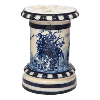 Pedestal, Ceramic Flow Blue, 1920s English For Sale