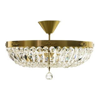 Large Crystal Plafond Chandelier in Brass For Sale