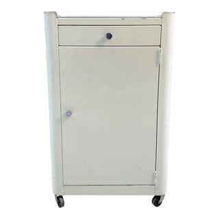 1950s Metal Rolling Pharmacy/Dental Cabinet For Sale